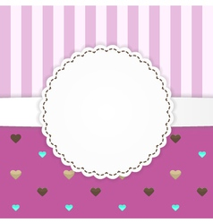 Pink stripped greeting card template with hearts vector
