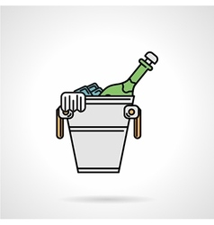 Cooling bucket flat color icon vector