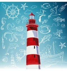 Lighthouse and hand-drawn icons of marine theme vector