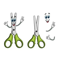 Cartoon scissors with victory gestures vector