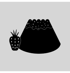 Flat in black and white bun with strawberri vector