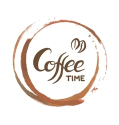 Hand written lettering with phrase coffee time vector