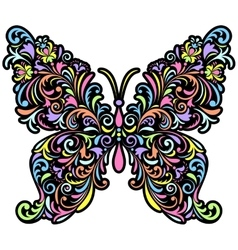 floral butterfly on white background vector image