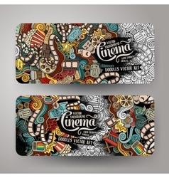 Cartoon doodles cinema banners vector image