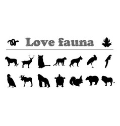 Animals silhouettes love fauna vector