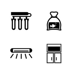 aquarium accessories simple related icons vector image vector image