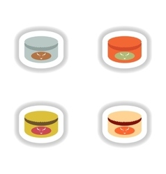 Assembly paper stickers on white canned beef vector