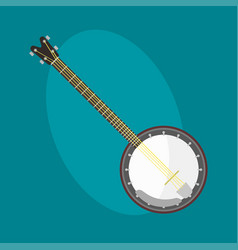 Banjo guitar icon stringed musical instrument vector