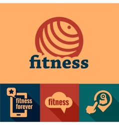 flat fitness emblems vector image