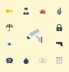 Flat icons walkie-talkie parasol explosive and vector