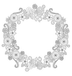 flower frame oval coloring book vector image vector image