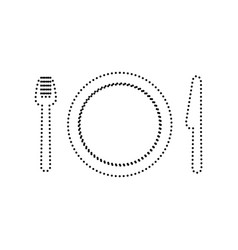 Fork plate and knife black dotted icon vector