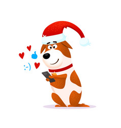 Funny cartoon dog portrait with mobile phone vector