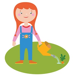 Girl gardener character vector