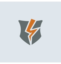 Gray-orange broken shield round icon vector