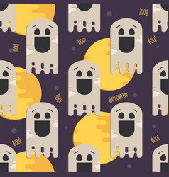 halloween funny ghost seamless pattern vector image vector image