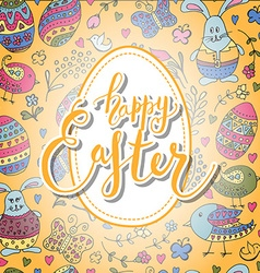 Hand sketched Happy Easter set as Easter logotype vector image vector image