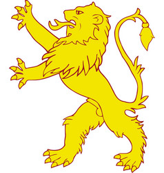 Heraldic lion rampart vector