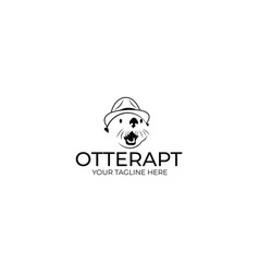 Otter in a hat logo template vector