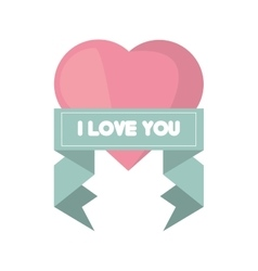 Pink heart i love you ribbon vector