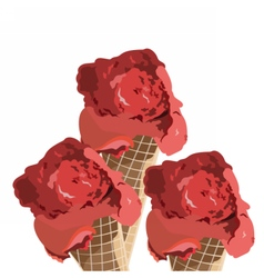 Red ice cream cones isolated vector