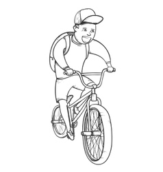 School boy riding bmx bycicle vector image vector image
