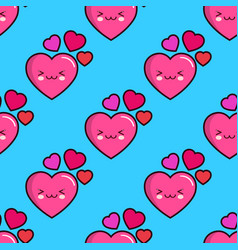 seamless pattern of smiling hearts on blue vector image