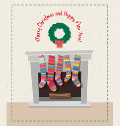 set of colorful christmas stockings vector image vector image