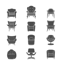 Silhouette armchair isolated icons set vector image vector image