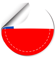 Sticker template for chile flag vector