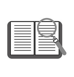 Text book with magnifying glass vector