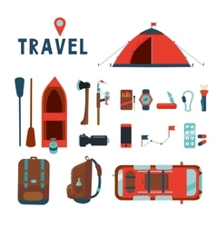 Travel icons set isolated cartoons signs vector