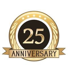 Twenty five year anniversary badge vector