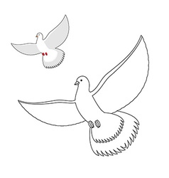 White Dove coloring book Flying white pigeon vector image vector image
