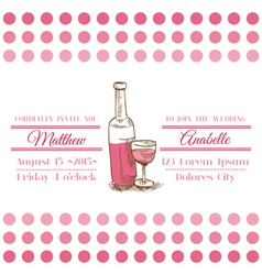 Wedding vintage invitation card - wine theme vector