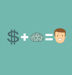 Money and brains make you happy vector