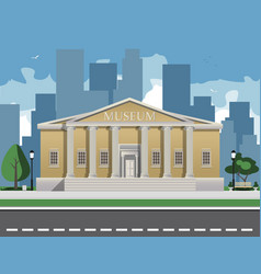 Color depicting museum building with vector