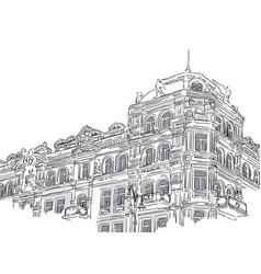 Vintage building in sketch style vector