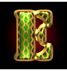 Golden and green letter e vector