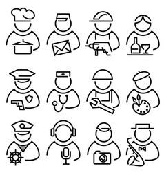 Set line peoples icons vector