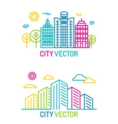 City and architecture logos in trendy bright vector