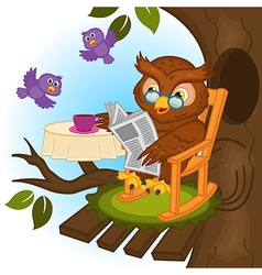Owl drinking tea and reading newspaper vector