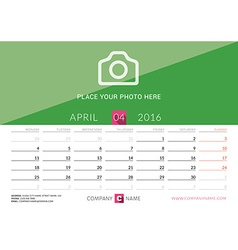 Desk calendar 2016 print template april week vector
