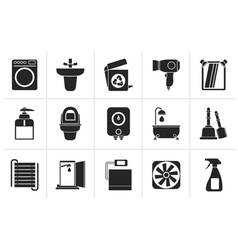 Black Bathroom and toilet objects and icons vector image