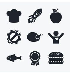 Food icons apple fruit with leaf symbol vector