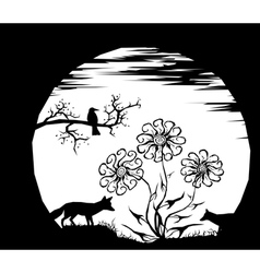 Moon and silhouettes vector