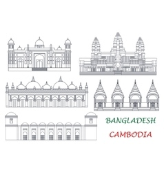 Travel landmarks of cambodia and bangladesh icons vector