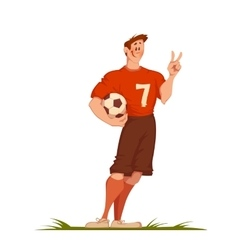 Football man with ball sportsman isolated on vector