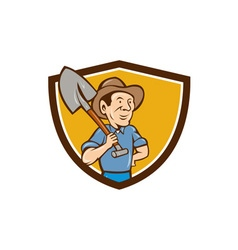 Farmer shovel shoulder crest cartoon vector