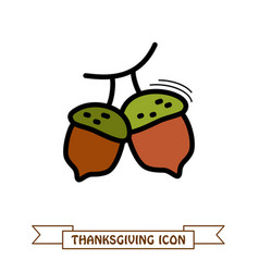 acorn icon harvest thanksgiving vector image vector image